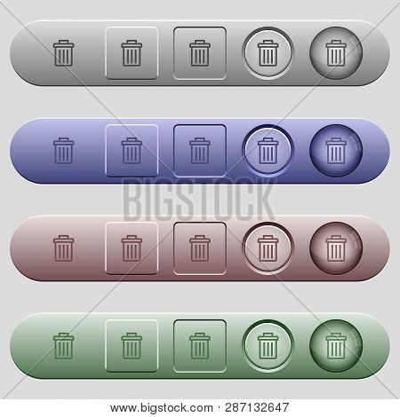 Delete Icons On Rounded Horizontal Menu Bars In Different Colors And Button Styles