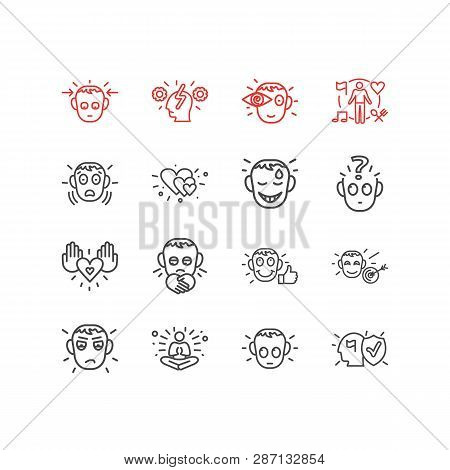 Illustration Of 16 Emotions Icons Line Style. Editable Set Of Love, Cognitive Process, Guilty And Ot