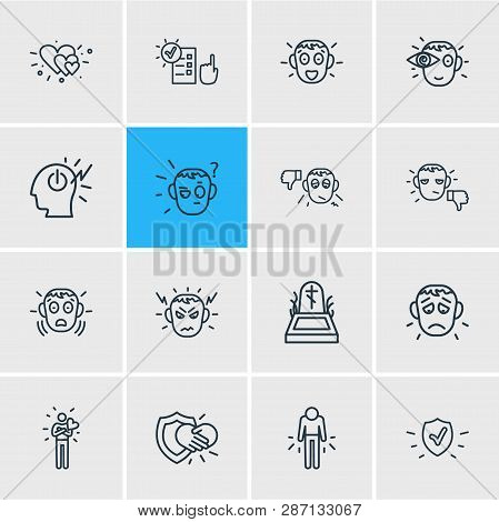 Illustration Of 16 Emoji Icons Line Style. Editable Set Of Surprised, Offence, Protection And Other