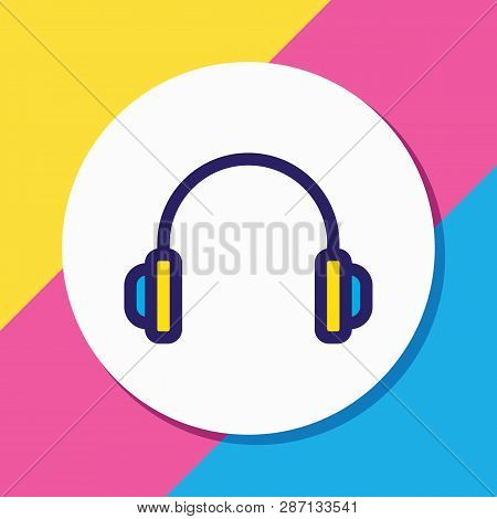 Vector Illustration Of Headphones Icon Colored Line. Beautiful Lifestyle Element Also Can Be Used As