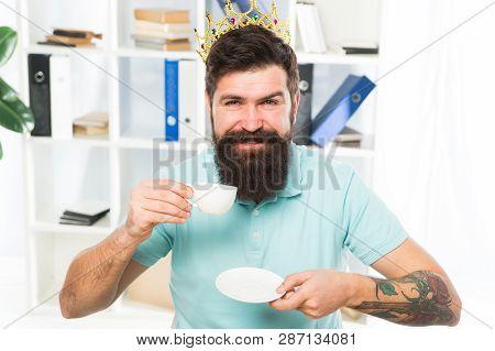 Happy Worker Employee. Happy Businessman In Gold Crown. Happy Man Employee Drink Coffee. Boss Workpl