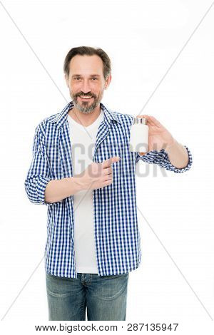 Health And Wellness. Mature Man Pointing At Pill Bottle. Senior Man With Medicine Pill And Vitamin C