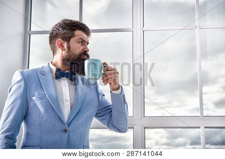Good Morning Coffee. Serious Bearded Man Drink Coffee. Businessman In Formal Outfit. Modern Life. Bu