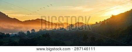 Panoramic View Of Forest And Mountains, Summer Landscape With Foggy Hills At Sunrise Near Coast Ngap