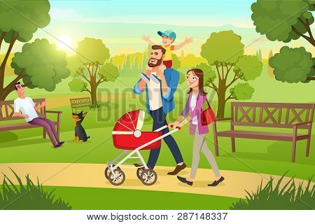Happy Young Family Strolling In City Park At Sunny, Summer Day Cartoon Vector. Mother Walking With R