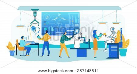 Robot Building Technology. Humanoid Design Tech Factory Office With Man And Woman Cebernetics Engine