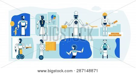 Future Robot Profession. Humanoid Flat Collection. Babysitter, Servant, Builder, Loader, Doctor, Multitasking Cybernetic Personal. Different Cyborg Industry Helper Specialist Collection. poster