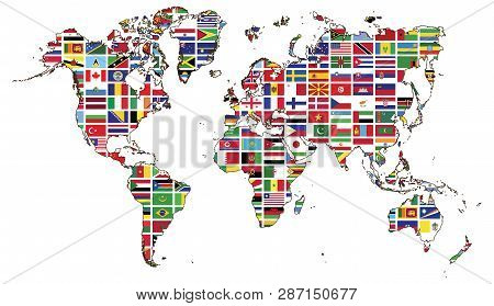 World Map And World Flag Collection.world Map And World Flag Collection Used For Background Drawing