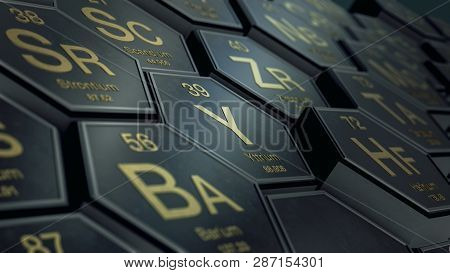 Close Up View Of A Periodic Table Of Elements With Hexagons (3d Render)