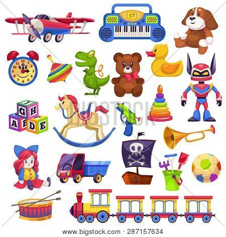 Kids Toys Set. Toy Kid Child Preschool House Baby Game Ball Train Yacht Horse Doll Duck Boat Plane B