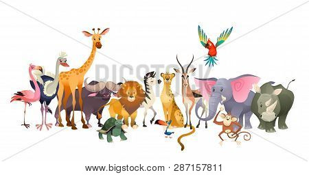 Wild Animals. Safari Wildlife Africa Happy Animal Lion Zebra Elephant Rhino Parrot Giraffe Ostrich F