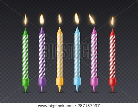 Birthday Candle. Candlelight Birthday Party Cake Wax Burning Candle With Flicker Fire For Holiday Ca