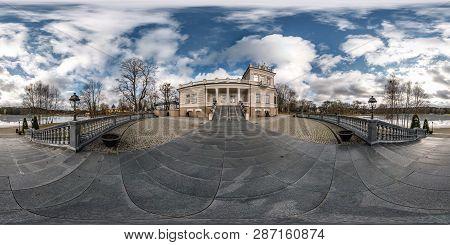 Druskininkai, Lituva - January 2019: Full Spherical Seamless Panorama 360 Degrees Angle View On Hist