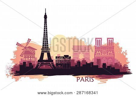 Stylized Landscape Of Paris With Eiffel Tower, Arc De Triomphe And Notre Dame Cathedral And Other At