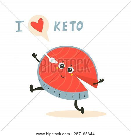 Funny Cute Fish Character, Keto Diet Lover. Ketosis Concept