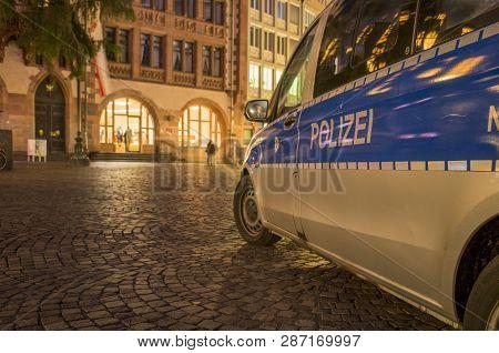 Frankfurt Am Main, Germany - November 13 2018 : German Police Van In Roemer In Frankfurt Am Main, Ge