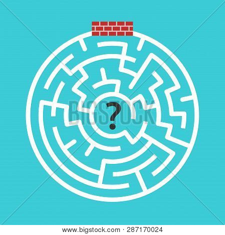 Circular Maze Immured, Walled-up With Bricks On Turquoise Blue Background. Hopelessness, Despair And