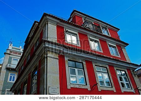 Dwelling House On The Street Travessa Do Carvalho In Lisbon, Portugal. November 01, 2018. Editorial