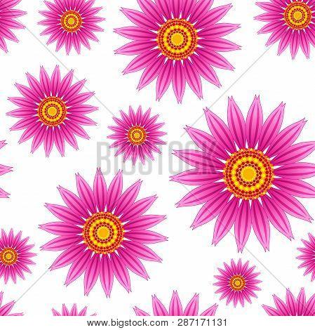 Echinacea Purpurea Flowers Vector Seamless Pattern. Vector Seamless Pattern Of Echinacea Purpurea Bl