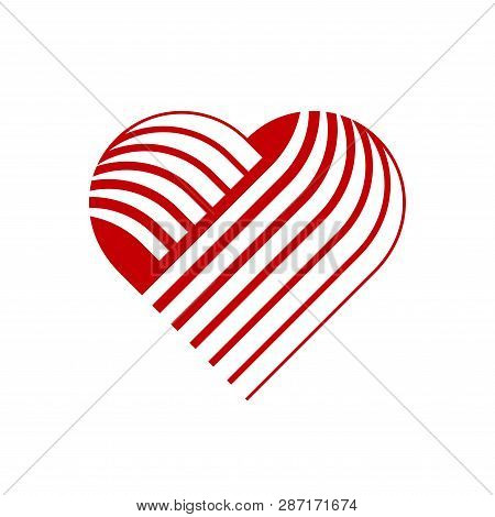 Vector Heart Logo. Logo Of Red Heart Made Of Abstract Geometric Shapes And Lines.