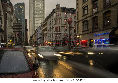 Frankfurt Am Main, Germany - October 02 2018: Vehicles Moving Through Taunusstrasse In Frankfurt Am