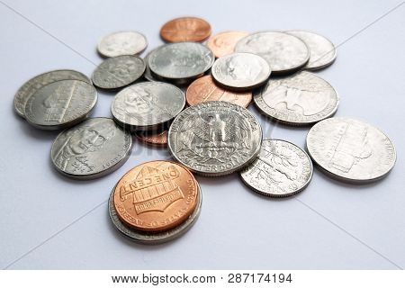 Close Up Photography Of Large Amount Of Usa Money Coins (stack Of American Dimes, Quarters, Pennies)