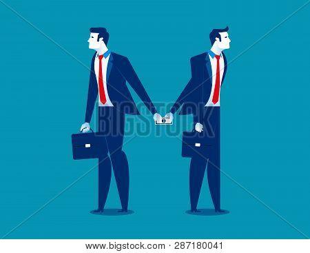 Dishonesty. Businessman Giving Money To Man Behind Back. Concept Business Illustration. Vector Busin