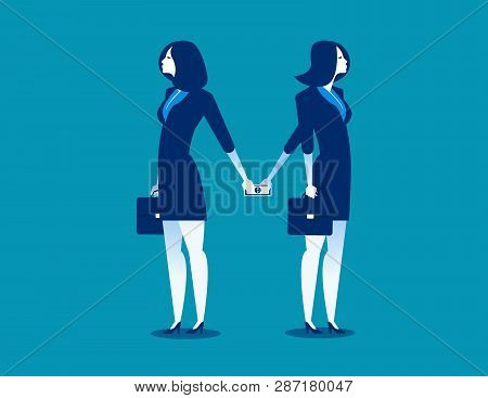 Dishonesty. Businesswoman Giving Money To Woman Behind Back. Concept Business Illustration. Vector B