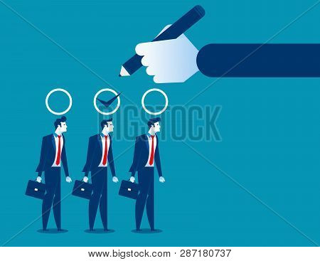 Business Manager Hand Selection Man Appropriate Candidate. Concept Business Best Candidate Vector Il
