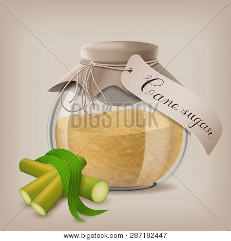 Brown Sugar In Jar With Sugar Cane And Leaves. Vector Illustration