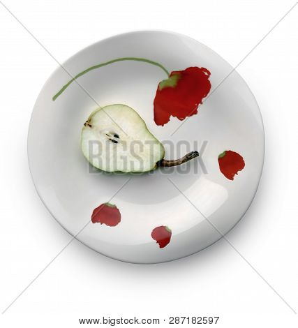 Still Life With Half Of Sweet Ripe Pear On The Beautiful Plate Against White Background. Selective A