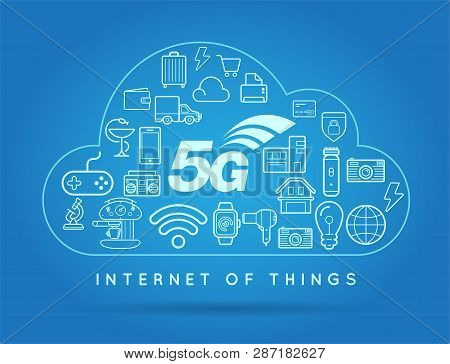 5G Iot Internet Of Things Smart Home Vector Quality Design With Icons