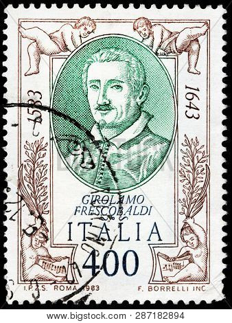 Luga, Russia - February 13, 2019: A Stamp Printed By Italy Shows Girolamo Alessandro Frescobaldi - F