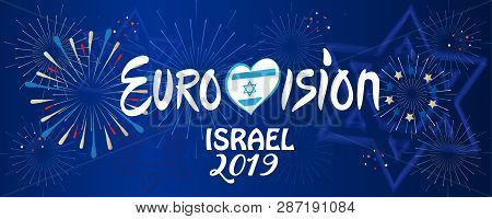 2019 Abstract Eurovision Song Contest International Music festival Israel Tel Aviv invitation, fireworks background, brochure template, banner, sign, heart logo concept entertainment ticket vector illusration poster