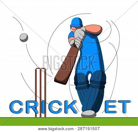 Batsman Playing Cricket. Stylized Cricketer Character For Website Design. Cricket Championship.