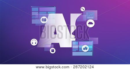 Artificial Intelligence, Internet Of Things And Smart Technology Concept Design With Ai Logo, Ui Lay