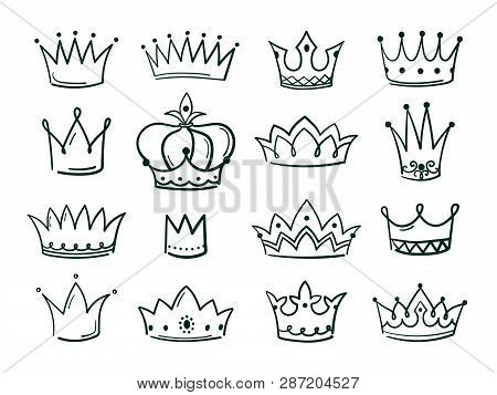 Hand Drawn Crown. Sketch Crowns Queen Coronet Simple Elegant Black Crowning Vintage Coronal Icons Ma