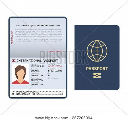 Passport Document. Id International Paper Passport Page With Female Photo Legal Sample Isolated Vect