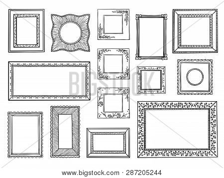 Hand Drawn Frames. Doodle Square And Circle Boarders, Vintage Decorative Sketch Shapes. Vector Doodl