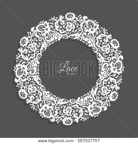 Vintage Round Frame With Lace Border Ornament, Lacy Circle Decoration For Wedding Invitation Design