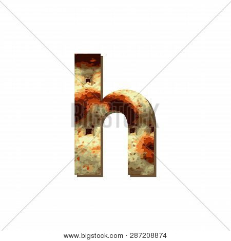English Lowercase Letter H With Matza Texture. Font For Passover. Vector Illustration On Isolated Ba
