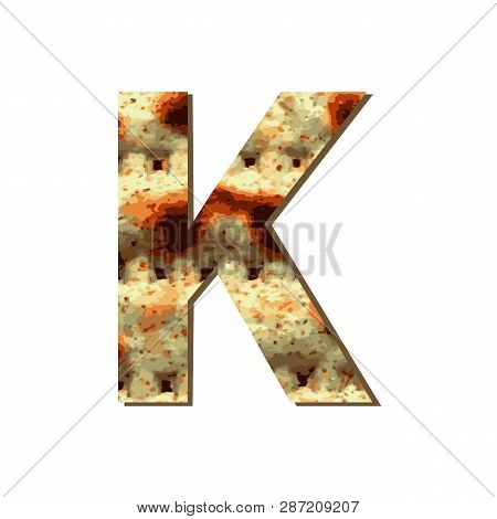 Capital English Letter K With Matza Texture. Font For Passover. Vector Illustration On Isolated Back