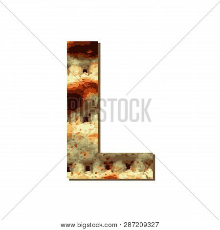 Capital English Letter L With Matza Texture. Font For Passover. Vector Illustration On Isolated Back