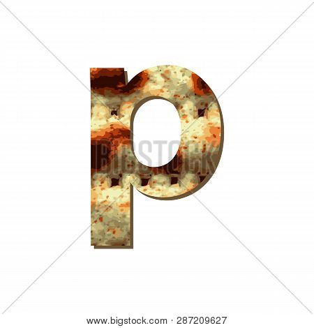English Lowercase Letter P With Matza Texture. Font For Passover. Vector Illustration On Isolated Ba