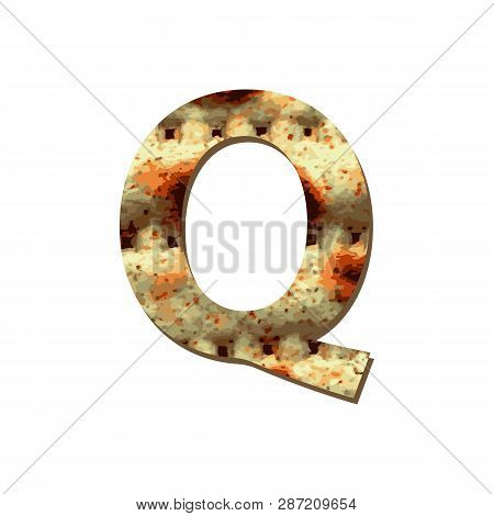 Capital English Letter Q With Matza Texture. Font For Passover. Vector Illustration On Isolated Back