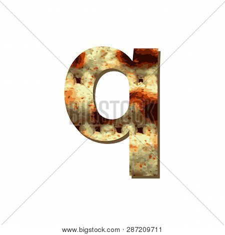 English Lowercase Letter Q With Matza Texture. Font For Passover. Vector Illustration On Isolated Ba