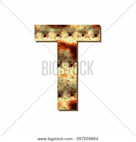 Capital English Letter T With Matza Texture. Font For Passover. Vector Illustration On Isolated Back