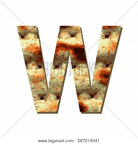 Capital English Letter W With Matza Texture. Font For Passover. Vector Illustration On Isolated Back