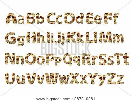 English Alphabet For The Holiday Of Passover Of Letters With The Texture Of Matzo. Font Matza. Vecto