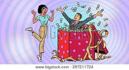 Businessman Husband Lots Of Money Holiday Gift Box. African Woman Funny Reaction Joy. Pop Art Retro
